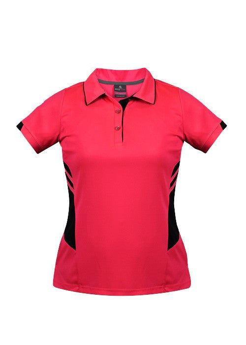 Aussie Pacific-Aussie Pacific Lady Tasman Polo( 2nd 8 colors)-4 / Neon Pink/Black-Uniform Wholesalers - 3