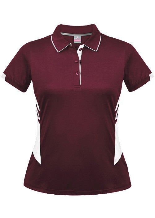 Aussie Pacific-Aussie Pacific Lady Tasman Polo( 3rd 8 colors)-4 / Maroon/White-Uniform Wholesalers - 6