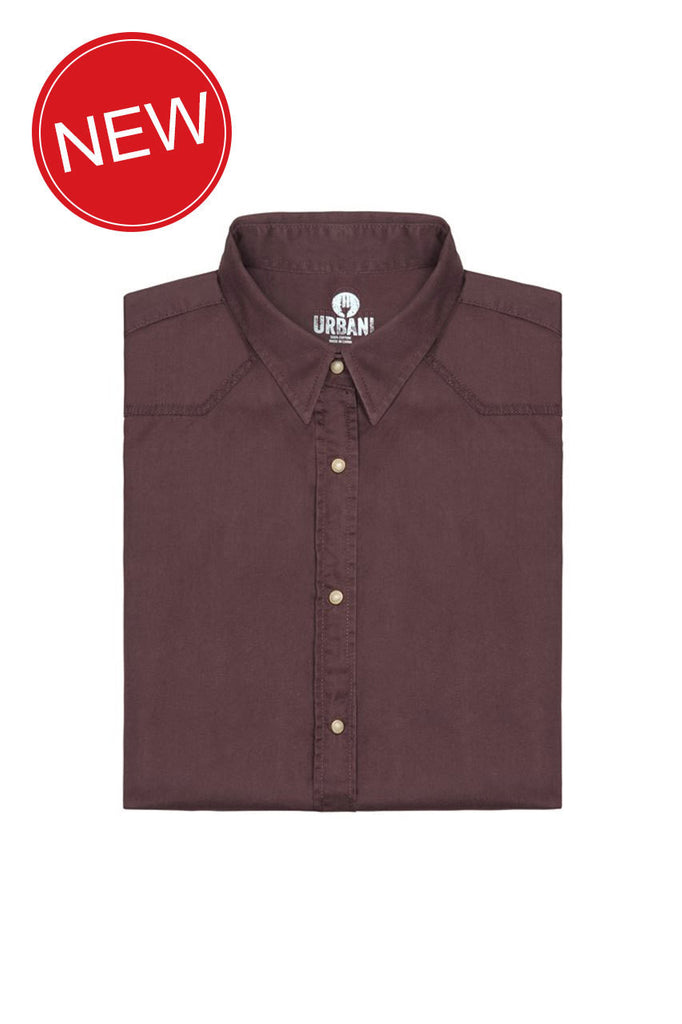 Chef Works-Chef Works Fremont Mens Shirt w/ Pearl Press Stud-Brown / XS-Uniform Wholesalers - 1