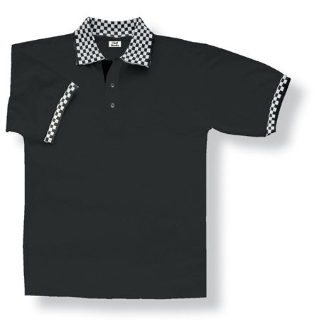 Chef Works-Chef Works Black Polo with Checked Cuff and Collar--Uniform Wholesalers - 2