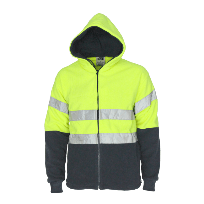 DNC Hivis full zip polar fleece hoodie with CSR R/tape (3926)