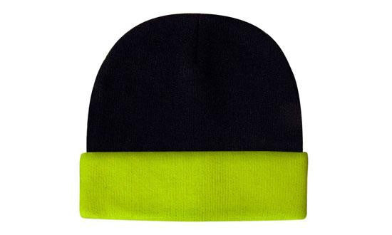 Headwear-Headwear Luminescent Safety Acrylic Beanie - Toque Cap-Navy/Green / Free Size-Uniform Wholesalers - 2
