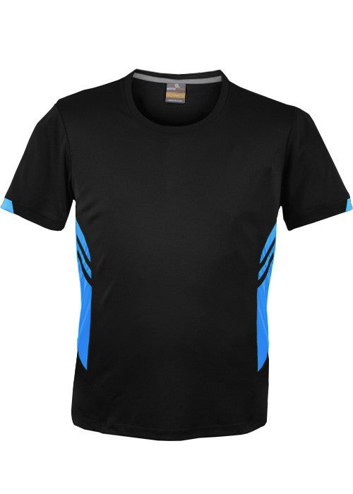 Aussie Pacific-Aussie Pacific Kids Tasman Tee(1st 14 Colors)-4 / Black/Cyan-Uniform Wholesalers - 3