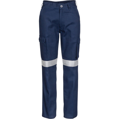 DNC Workwear-DNC Ladies Cotton Drill Cargo Pants with 3M Reflective Tape--Uniform Wholesalers