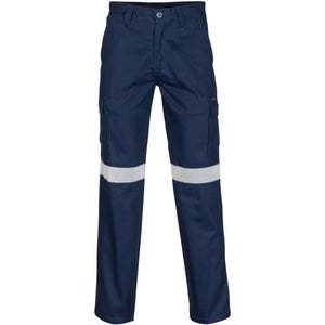 DNC Workwear-DNC Middle Weight Cotton Double Angled Cargo Pants With CRS Reflective Tape-72R / Navy-Uniform Wholesalers