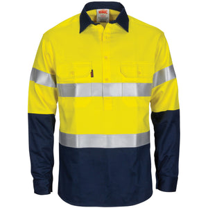 DNC Workwear-DNC Patron Saint Flame Retardant 2 Tone Closed Front Cotton Shirt with 3M F/R Tape - L/S-XS / Yellow/Navy-Uniform Wholesalers - 1