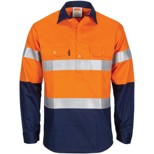 DNC Workwear-DNC Patron Saint Flame Retardant 2 Tone Closed Front Cotton Shirt with 3M F/R Tape - L/S-S / Orange/Navy-Uniform Wholesalers - 2