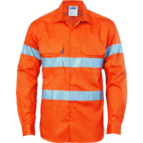DNC Workwear-DNC Hivis D/n Drill Shirt-XS / Orange-Uniform Wholesalers