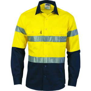 DNC Workwear-DNC Hivis D/n 2 Tone Drill Shirt-XS / Yellow/Navy-Uniform Wholesalers - 1