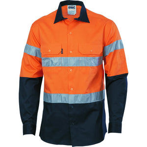 DNC Workwear-DNC Hivis D/n 2 Tone Drill Shirt-XS / Orange/Navy-Uniform Wholesalers - 2