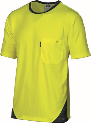 DNC Workwear-DNC Cool Breathe Short Sleeve Poly Micromesh Tee-Yellow/Navy / XS-Uniform Wholesalers - 1