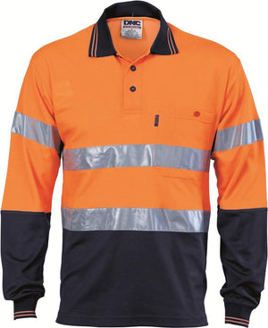 DNC Workwear-DNC HiVis Cotton Back L/S Polo with generic R/T-Orange/Navy / XS-Uniform Wholesalers - 1