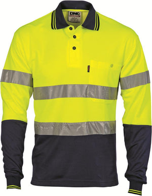 DNC Workwear-DNC HiVis Cotton Back L/S Polo with generic R/T-Yellow/Navy / XS-Uniform Wholesalers - 2