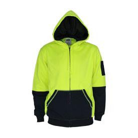 DNC Workwear-DNC Hivis 2 tone full zip super fleecy hoodie-XS / Yellow/Navy-Uniform Wholesalers - 1