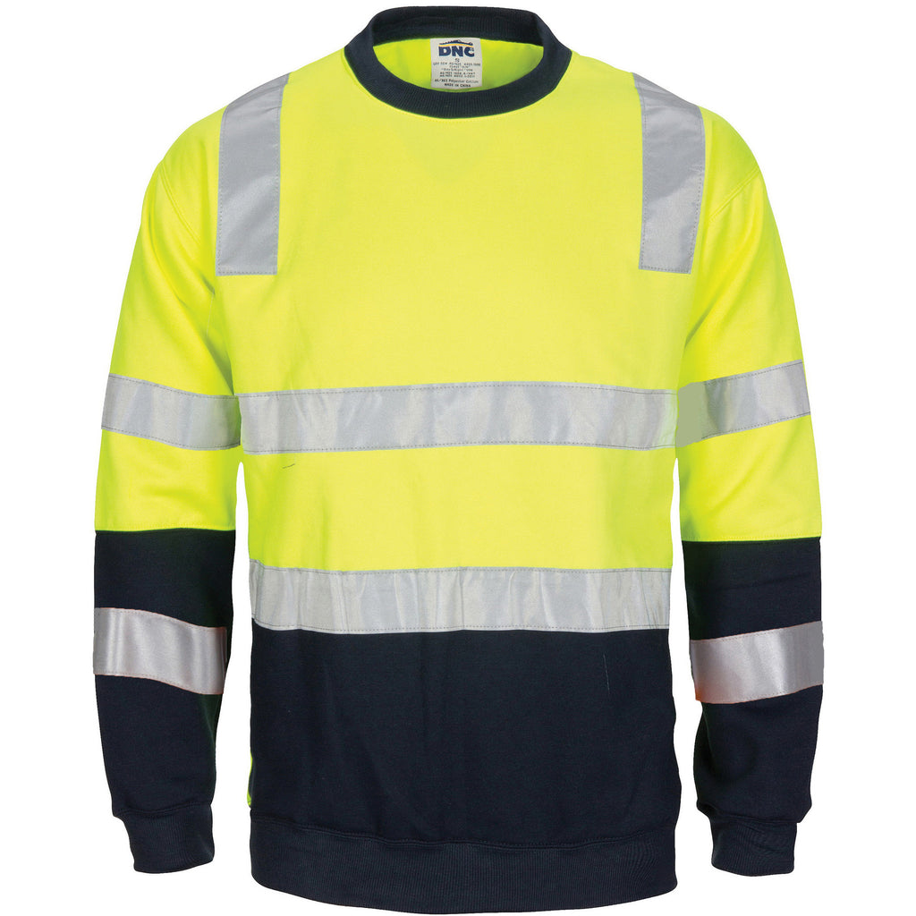 DNC Workwear-Hivis 2 Tone, Crew-neck Fleecy Sweat Shirt With Shoulders, Double Hoop Body And Arms Csr R/tape-XS / Yellow/Navy-Uniform Wholesalers - 1