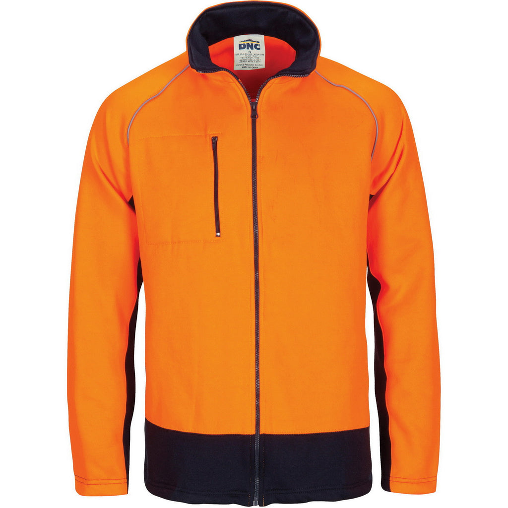 DNC Workwear-DNC Hivis 2 Tone Full Zip Fleecy Sweat Shirt With Two Side Zipped Pockets-XS / Orange/Navy-Uniform Wholesalers - 2