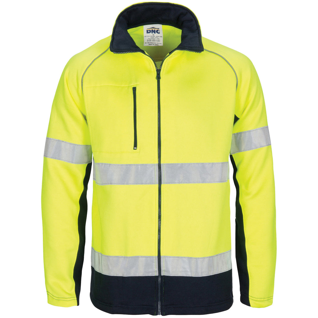 DNC Workwear-DNC HIVIS 2 Tone full zip fleecy sweat shirt CSR R/Tape-XS / Yellow/Navy-Uniform Wholesalers - 1