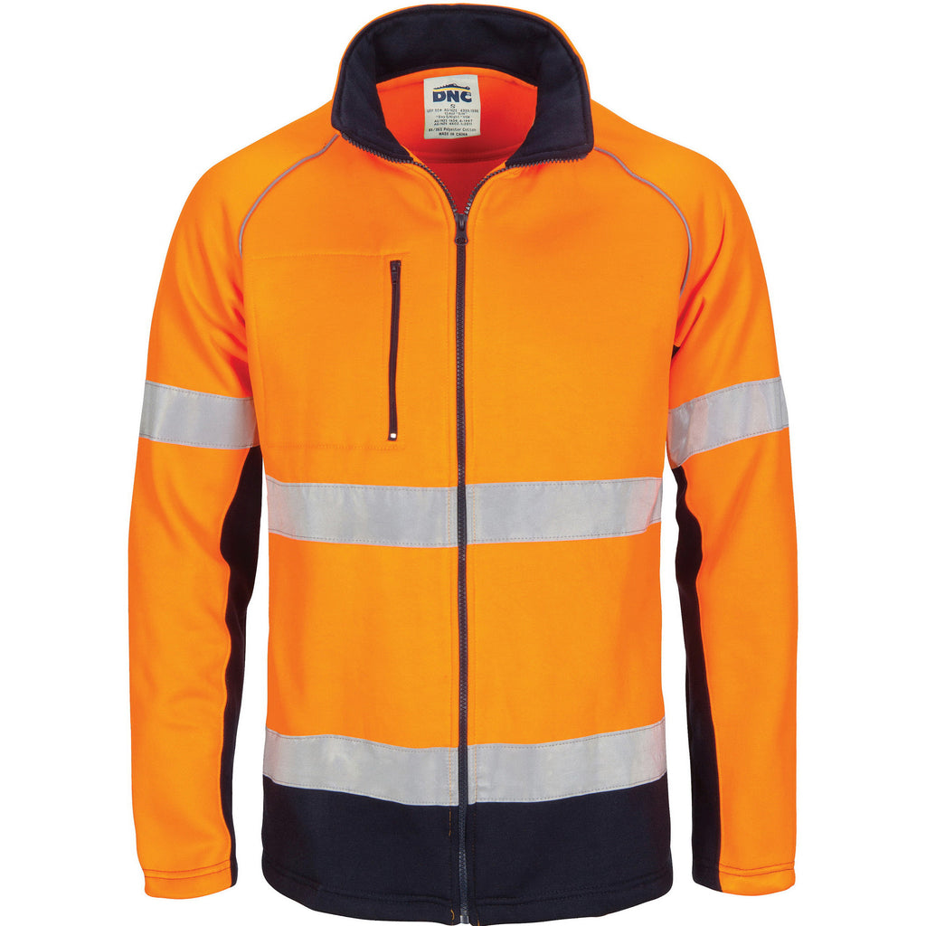 DNC Workwear-DNC HIVIS 2 Tone full zip fleecy sweat shirt CSR R/Tape-XS / Orange/Navy-Uniform Wholesalers - 2