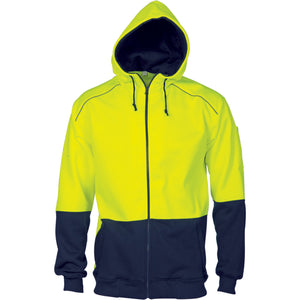 DNC Workwear-DNC HiVis Contrast Piping Fleecy Hoodie-Yellow/Navy / S-Uniform Wholesalers - 1