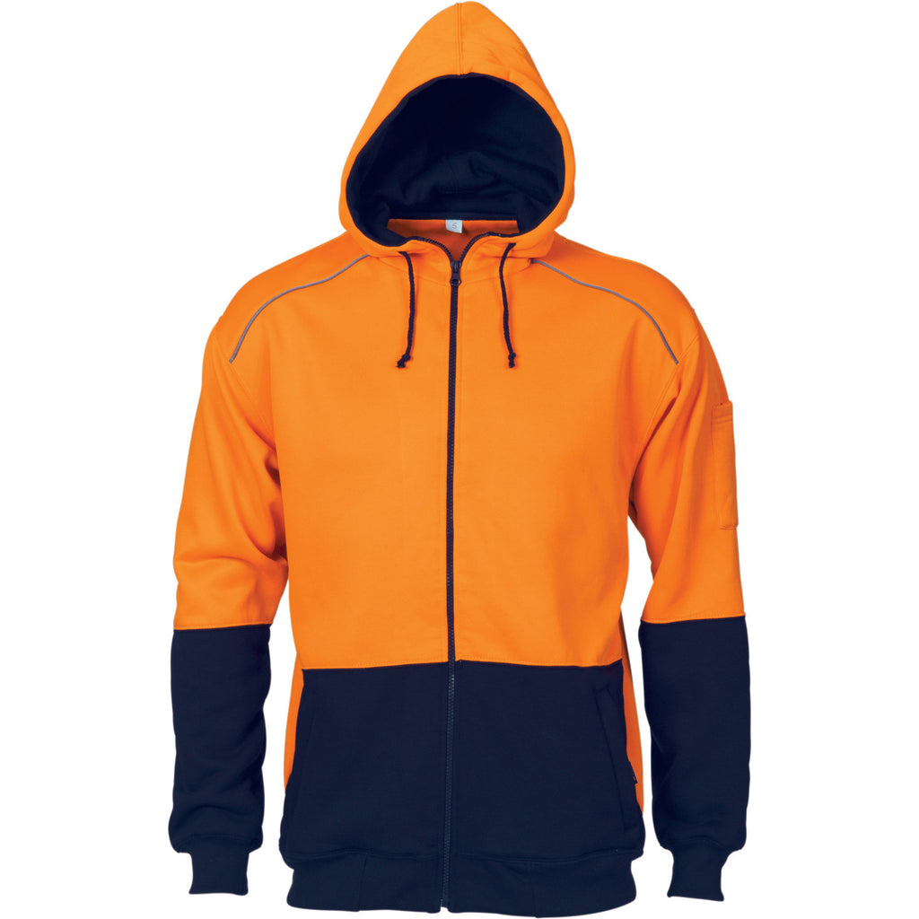 DNC Workwear-DNC HiVis Contrast Piping Fleecy Hoodie-Orange/Navy / S-Uniform Wholesalers - 2
