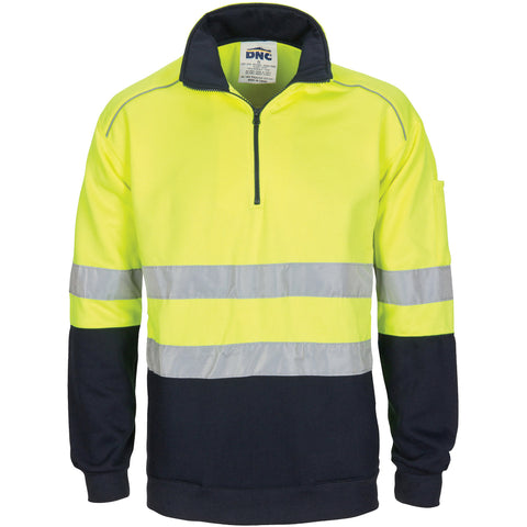DNC Workwear-DNC HiVis 1/2 Zip Fleecy with Hoop Pattern CSR Reflective Tape-XS / Yellow/Navy-Uniform Wholesalers - 1