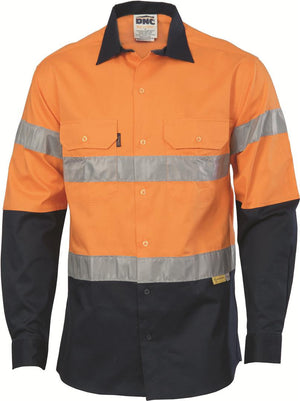 DNC Workwear-DNC HiVis two tone drill shirts with 3M8906 R/Tape, L/S-XS / Orange/Navy-Uniform Wholesalers - 1