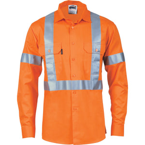 DNC Workwear-DNC HiVis Cool-Breeze Cotton Shirt with 'X' Back & additional 3m r/Tape on Tail - long sleeve-S / Orange-Uniform Wholesalers