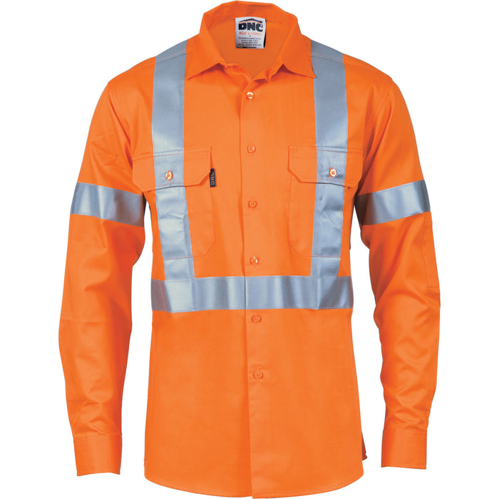 DNC HiVis Cool-Breeze Cotton Shirt with 'X' Back & additional 3m R/Tape on Tail- L/S (3746)