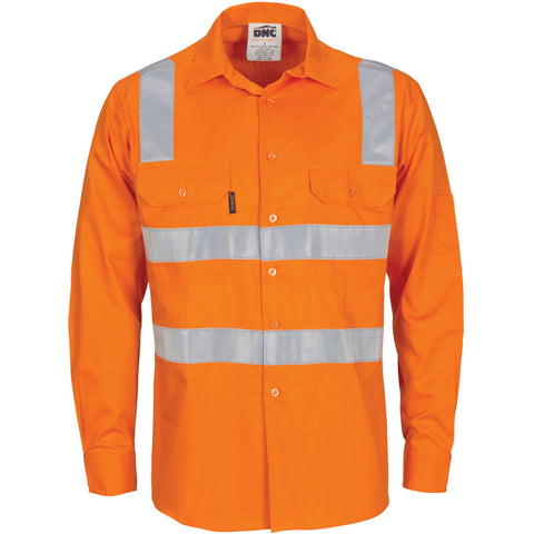 DNC Workwear-DNC HiVis Cool-Breeze Cotton Shirt with Hoop & Shoulder CSR R/Tape - L/S-XS / Orange-Uniform Wholesalers