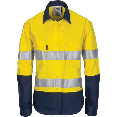 DNC Workwear-DNC Ladies HiVis 3 Way Cool-Breeze Cotton Shirt with Gusset Sleeve, 3M R/Tape - Long Sleeve.-6 / Yellow/Navy-Uniform Wholesalers - 1