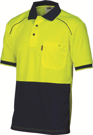 DNC Workwear-DNC HiVis Cool Breathe HiVis Cool Breathe Front Piping Polo-XS / Yellow/Navy-Uniform Wholesalers - 2