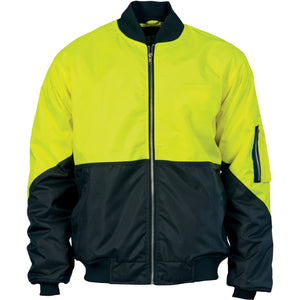 DNC Workwear-DNC Hivis 2 Tone Day Bomber Jacket-XS / Yellow/Navy-Uniform Wholesalers - 1