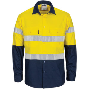 DNC Workwear-DNC HiVis R/W Cool-Breeze T2 Vertical Vented Cotton Shirt with Gusset Sleeves, Generic R/Tape - Long Sle-XS / Yellow/Navy-Uniform Wholesalers - 1