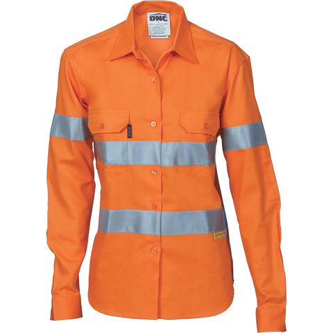 DNC Workwear-DNC Ladies HiVis Cool-Breeze Cott on Sh irt with 3M R/Tape - Long sleeve-12 / Orange-Uniform Wholesalers