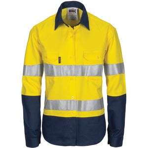 DNC Workwear-DNC Ladies HIVIS Cool-Breeze Cotton Shirt with CSR R/Tape - Long Sleeve-6 / Yellow/Navy-Uniform Wholesalers - 1
