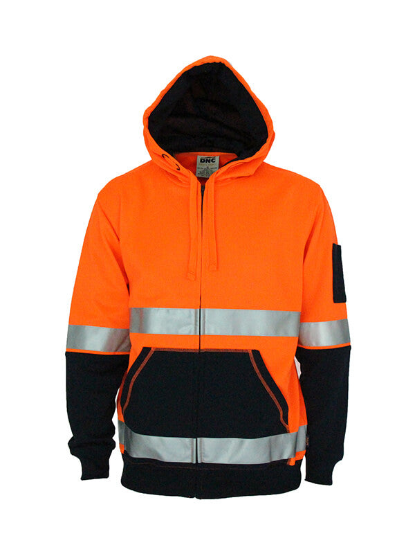 DNC Hivis 2 tone full zip super fleecy hoodie with CSR R/tape (3788)