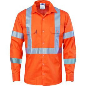 DNC Workwear-DNC Hivis cool-breeze cotton shirt with double hoop on arms & 'X' back CSR R/tape - long sleeve-XS / Orange-Uniform Wholesalers - 1