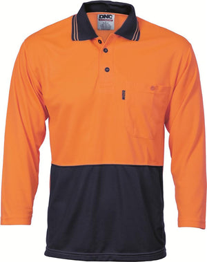 DNC Workwear-DNC HiVis Two Tone Fluoro Polo Shirt, Micromesh, 3/4 Sleeve > 175 gsm Polyester Micromesh-S / Orange/Navy-Uniform Wholesalers - 1