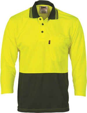DNC Workwear-DNC HiVis Two Tone Fluoro Polo Shirt, Micromesh, 3/4 Sleeve > 175 gsm Polyester Micromesh-S / Yellow/Bottle Green-Uniform Wholesalers - 2