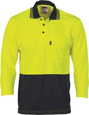 DNC Workwear-DNC HiVis Two Tone Fluoro Polo Shirt, Micromesh, 3/4 Sleeve > 175 gsm Polyester Micromesh-2XL / Yellow/Navy-Uniform Wholesalers - 3