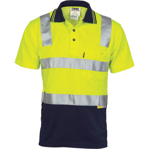 DNC Workwear-DNC HiVis Cotton Back Two Tone S/S Polo Shirt with 3M R/T-Yellow/Navy / XS-Uniform Wholesalers - 3