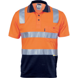 DNC Workwear-DNC HiVis Cotton Back Two Tone S/S Polo Shirt with 3M R/T-Orange/Navy / XS-Uniform Wholesalers - 4