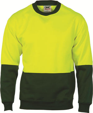 DNC Workwear-DNC HiVis Two tone Fleecy Sweat Shirt, Crew Neck-Yellow/Bottle Green / XS-Uniform Wholesalers - 2