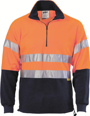DNC Workwear-DNC HiVis Two Tone 1/2 Zip Polar Fleece with 3M 8906 R/Tape-Orange/Navy / XS-Uniform Wholesalers - 1