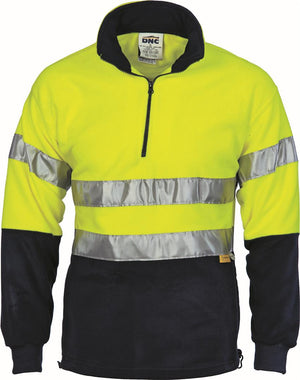 DNC Workwear-DNC HiVis Two Tone 1/2 Zip Polar Fleece with 3M 8906 R/Tape-Yellow/Navy / 2XL-Uniform Wholesalers - 2