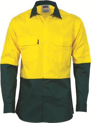 DNC Workwear-DNC HiVis Two Tone Cotton Drill Shirt, Long Sleeve-XS / Yellow/Bottle Green-Uniform Wholesalers - 3