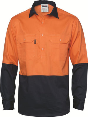 DNC Workwear-DNC HiVis Two Tone Close Front Cotton Drill Shirt - Long Sleeve, Gusset Sleeve-Orange/Navy / S-Uniform Wholesalers - 1