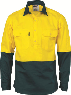 DNC Workwear-DNC HiVis Two Tone Close Front Cotton Drill Shirt - Long Sleeve, Gusset Sleeve-Yellow/Bottle Green / S-Uniform Wholesalers - 3