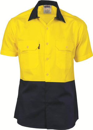 DNC Workwear-DNC HiVis Two Tone Cool-Breeze Cotton Shirt, Short Sleeve-Yellow/Navy / S-Uniform Wholesalers - 3