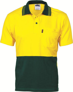 DNC Workwear-DNC HiVis Cool-Breeze Cotton Jersey S/S Polo Shirt with Under Arm Cotton Mesh-XS / Yellow/Bottle Green-Uniform Wholesalers - 3
